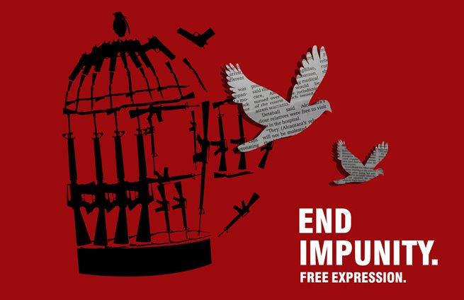 Le gagnant du premier prix du concours d'affiches de la Journée internationale contre l'impunité de cette année, Jamie Javier des Philippines