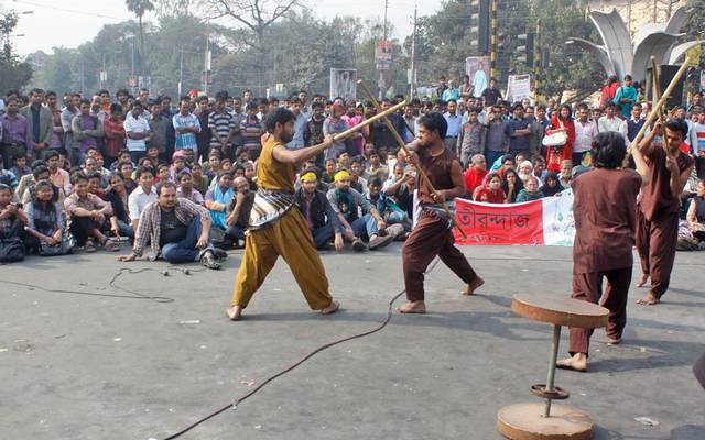 Drama at Shahbag Square during February 2013 protests