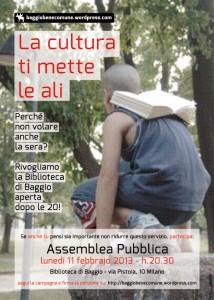 Campagna per la riapertura della biblioteca di Baggio a Milano