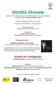 Identità ritrovate –  A Milano iniziativa sui bambini rubati alle famiglie dalla dittatura argentina