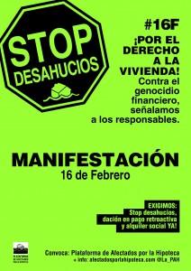 Pour exiger le droit au logement et contre le génocide financier, manifestations partout en Espagne, le 16 février.