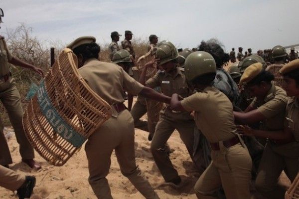 Crackdown on women protesters against the Kudankulam nuclear plant in India.