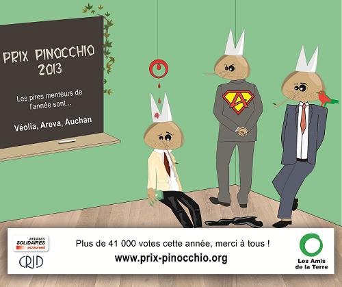 Veolia, Areva et Auchan remportent les Prix Pinocchio 2013 !