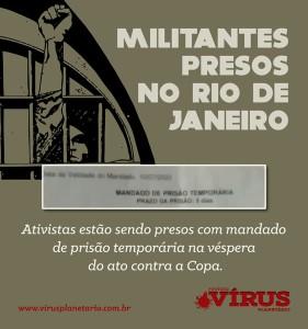 Nota de repúdio às prisões arbitrárias no Rio de Janeiro