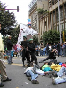 A demonstration against militarism and conscription and for nonviolence in Bogota, Colombia.