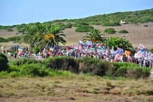 Manifestazione a Capo Frasca in Sardegna contro le basi Usa-Nato