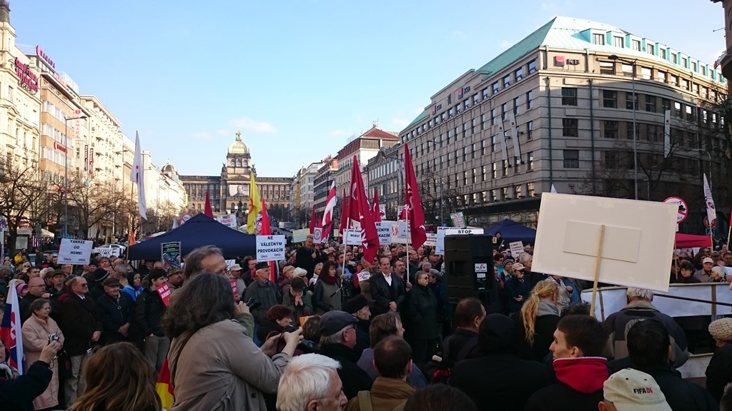 Protests in Prague against US troop movements as part of Operation Dragoon Ride