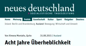 """Gegendarstellung des Botschafters von Ecuador in Berlin zu einem Artikel in der Tageszeitung """"Neues Deutschland"""""""