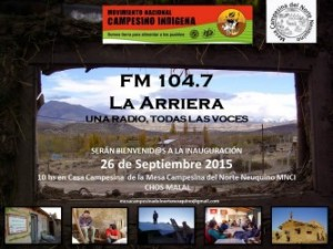 Comienza a transmitir FM La Arriera, la emisora de la Mesa Campesina del Norte Neuquino