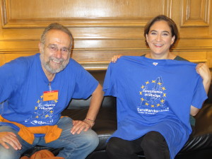 Ada Colau bekundet ihre Unterstützung für den Euromarsch