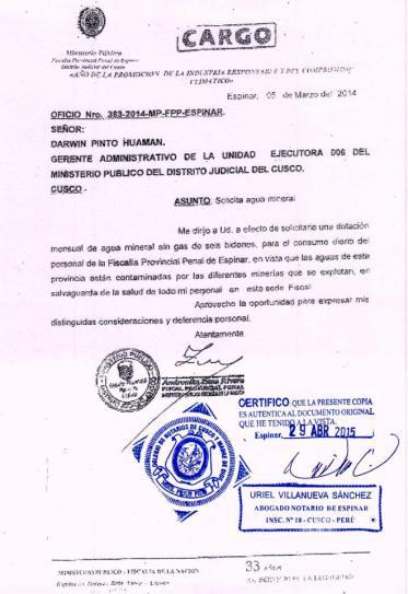 Fiscal pide dotación de agua embotellada.