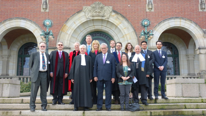 The legal team representing the Republic of the Marshall Islands at the ICJ in The Hague. (Image by Rick Wayman, Nuclear Age Peace Foundation)