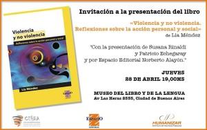 """Se presenta el libro """"Violencia y no violencia. Reflexiones sobre la acción personal y social"""" de Lía Méndez"""