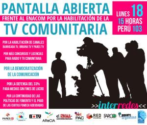 Acto en defensa de la televisión comunitaria argentina convocado el lunes 18 de abril