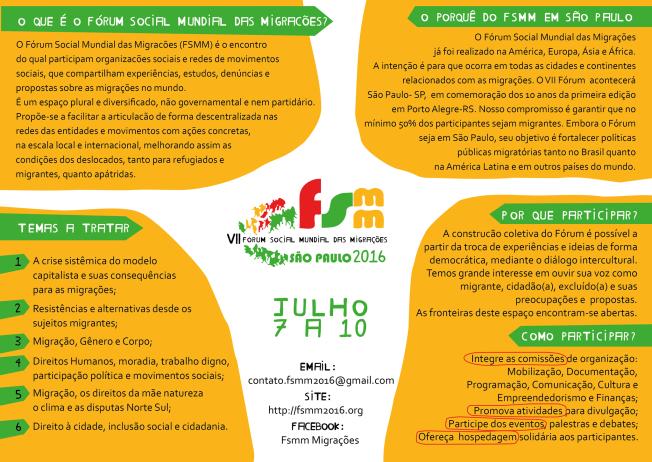 Fórum Social Mundial de Migrações chega à sétima edição neste ano e volta ao Brasil, onde teve início. Crédito: Divulgação