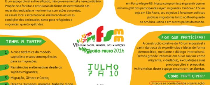 São Paulo: Inscrições para o Fórum Social Mundial das Migrações 2016 agora vão até 31 de maio
