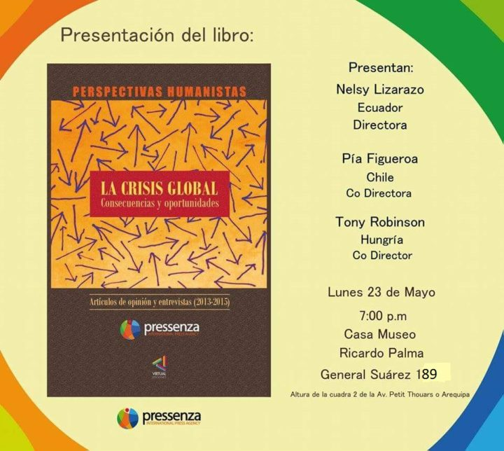 """Pressenza: Invitación a la presentación del libro """"La crisis global. Consecuencias y oportunidades"""", en Lima"""