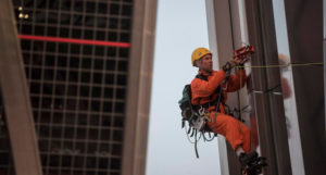 Greenpeace climbers climb one of the Kio Towers Madrid to say no to TTIP