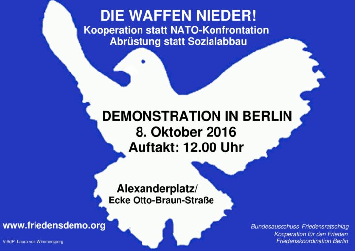 Berlin, Germany: anti-war protest called for October 8th