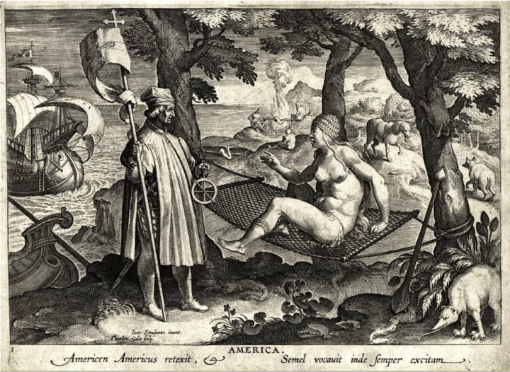 """""""Allegory of America"""" engraving by Jan Galle after Jan van der Straet. The scene depicts Amerigo Vespucci representing the Old World explorers as he wakes up a Native American from her hammock slumber. Local flora and fauna dot the background, as well as natives having a cannibalistic roast. Johannes Stradanus or van der Straat, (1523-1605)"""