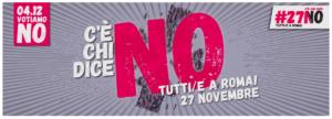 27 novembre: c'è chi dice NO MANIFESTAZIONE NAZIONALE