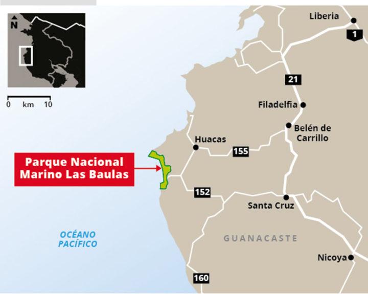 """Figura con ubicación del Parque Nacional Las Baulas, extraída de artículo de prensa de La Nación sobre esta decisión del CIADI, y titulado (de forma errónea) """"Costa Rica gana litigio por expropiación de parque Las Baulas en juicio al amparo del TLC"""""""