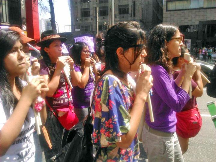 Bloco das Mulheres Migrantes se consolida na Marcha.Foto: Géssica Brandino.