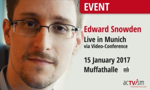 "Edward Snowden in Munich: Event ""Freedom & Democracy – Global Issues in Context"""