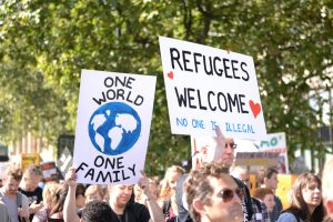Jeremy Corbyn for refugees and against Trump's visit to the UK