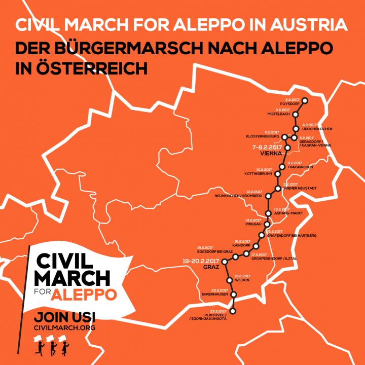 The Civil March for Aleppo reaches Vienna