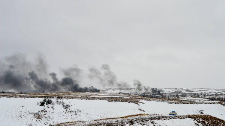 smoke Oceti camp