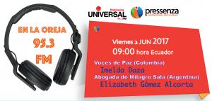 Pressenza Internacional En la Oreja 02/06/2017 con Imelda Daza y Elizabeth Gómez Alcorta