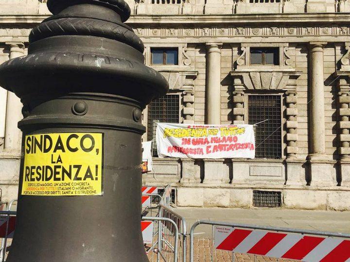 Milano, presidio a Palazzo Marino: residenza per tutti, marcia dei nuovi desaparecidos, anti-fascismo