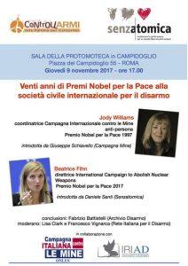Venti anni di Nobel per la Pace alla società civile celebrati a Roma