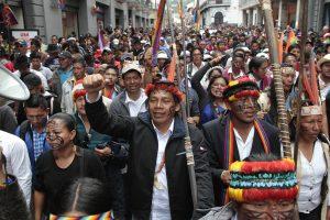 La Marcia indigena è arrivata Quito, Ecuador