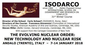 """A Andalo il XXXI Winter Course di ISODARCO """"Ordine Nucleare in Evoluzione: Nuove Tecnologie e Rischi Nucleari"""""""