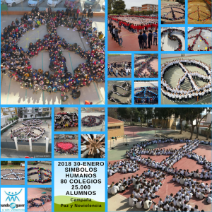 """35 thousand students from 132 educational centres carried out human symbols in the """"Peace and Nonviolence"""" campaign"""