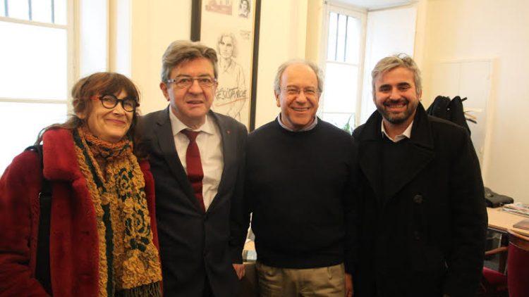 Tomás Hirsch trifft Jean-Luc Mélenchon, Alexis Corbière und Sabine Rubin in Paris