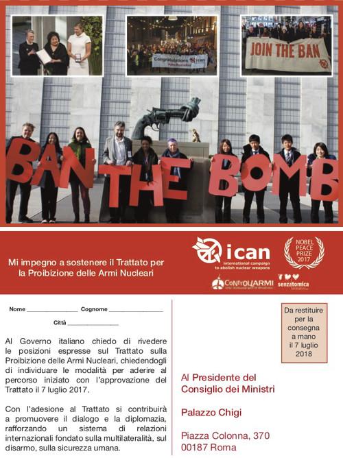 """""""Italia, ripensaci"""": in distribuzione le cartoline per sostenere l'azione in favore del disarmo nucleare"""