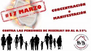 17 marzo: manifestaciones en defensa del Sistema Público de Pensiones