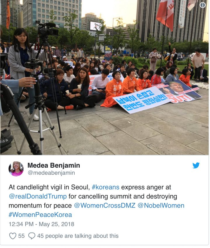 Warning against 'Return to rhetoric of Nuclear Annihilation,' Koreans and Anti-War voices demand Trump resume Peace Talks