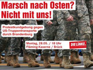 NO a los transportes militares estadounidenses a través de Brandenburgo y otras regiones de Alemania. ¡NO a la agresión de la OTAN!