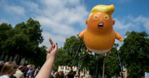 Angry Trump Baby Takes Flight as UK Protests Tell President He's Not Welcome