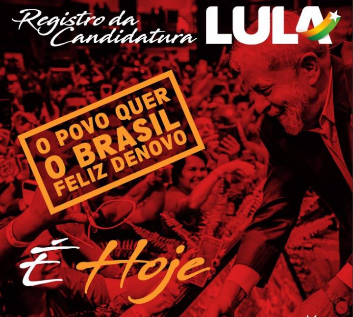Brasil, hoy se movilizan 50.000 para registrar la candidatura de Lula para las elecciones presidenciales