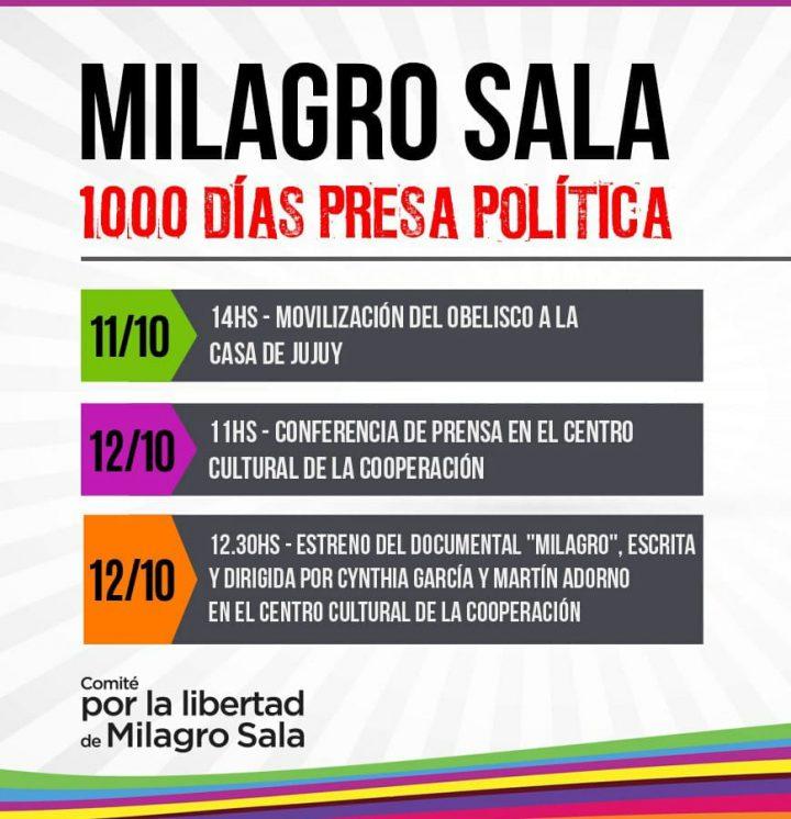 Il 12 Ottobre sono 1000 giorni che Milagro Sala è prigioniera politica