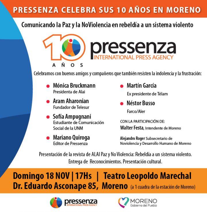 En Argentine, l'Agence de presse internationale axée sur la Paix et la Nonviolence Pressenza fête ses 10 ans à Moreno