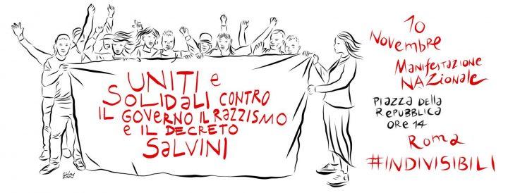 Manifestazione nazionale uniti e solidali contro il governo, il razzismo e il decreto Salvini