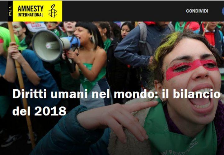 Amnesty pubblica  la sua analisi annuale sui Diritti Umani