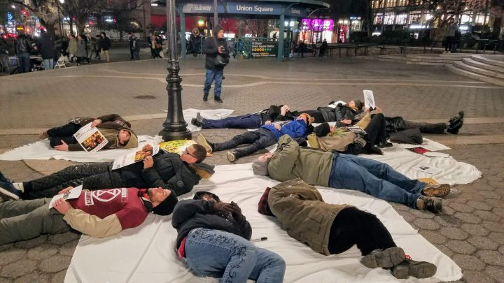 BP Die In to bring attention to the white phosphorus used in West Papua