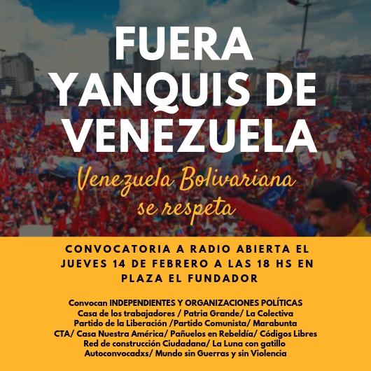 Acto en Córdoba, Argentina: ¡Fuera yanquis de América Latina! ¡Venezuela Bolivariana se respeta!